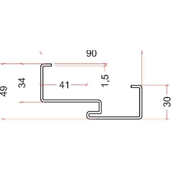 OŚCIEŻNICA PU / UNI56 laminowana w strukturze drewna z wbudowaną uszczelką